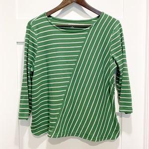 Kim Rogers Petite Green White Stripe 3/4 Sleeve